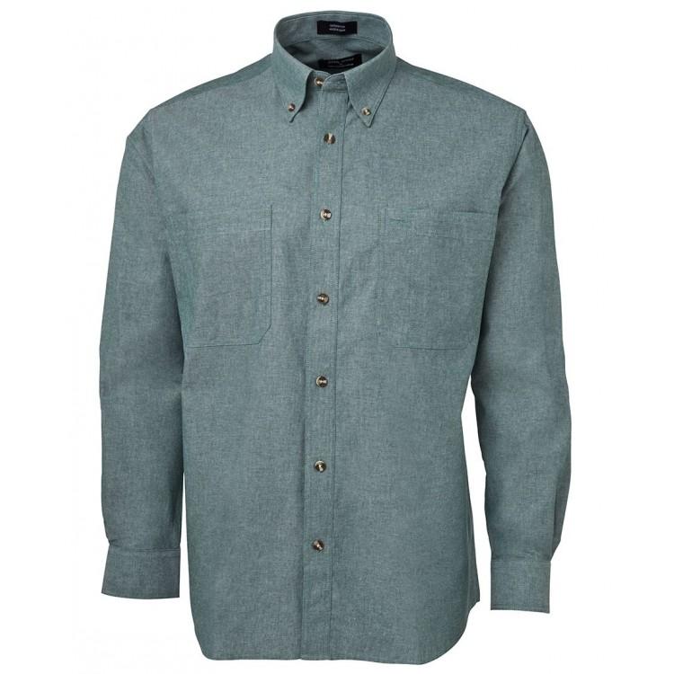 L/S Cotton Chambray Shirt Green Stitch