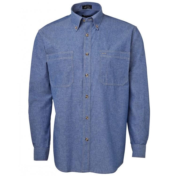 L/S Cotton Chambray Shirt Tan Stitch