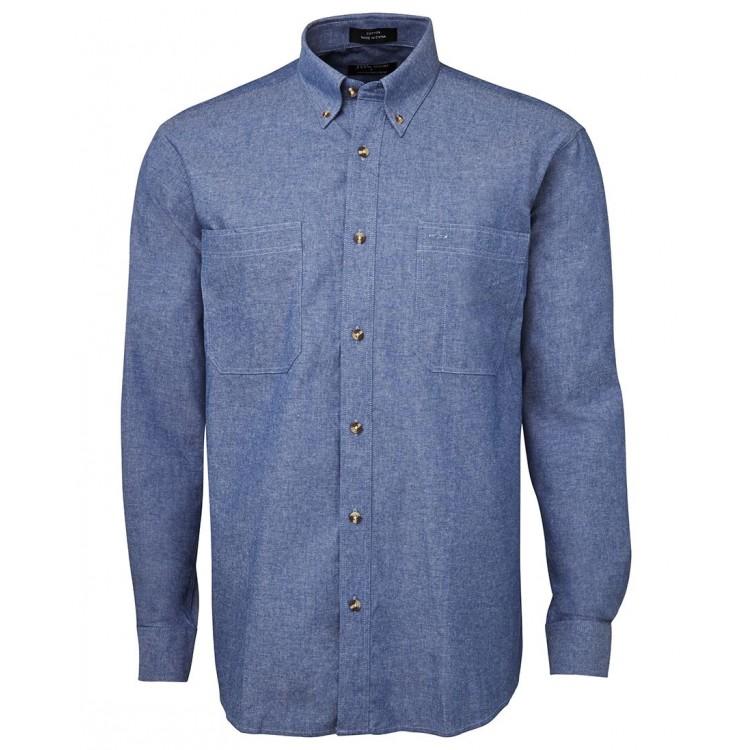 L/S Cotton Chambray Shirt Blue Stitch