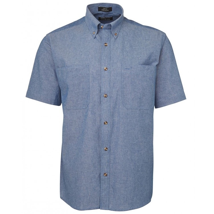 S/S Cotton Chambray Shirt Blue Stitch