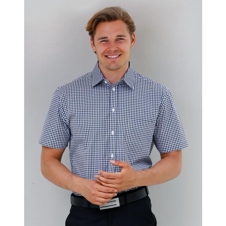 Men's Gingham Check Short Sleeve Shirt