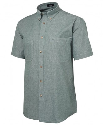 S/S Cotton Chambray Shirt Green Stitch