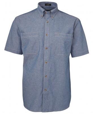 S/S Cotton Chambray Shirt Tan Stitch
