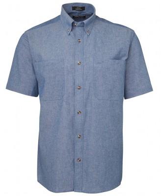 S/S Cotton Chambray Shirt Blue Stitch