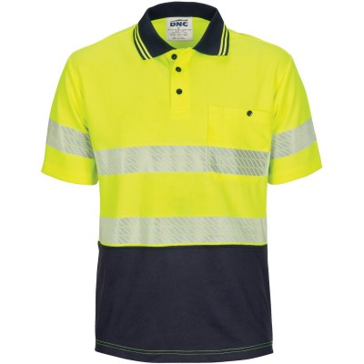 DNC Workwear HIVIS Segment Taped Mircomesh Polo - Short Sleeve
