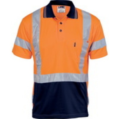 DNC Workwear HiVis D/N Cool Breathe Polo Shirt with Cross Back R/Tape - Short Sleeve