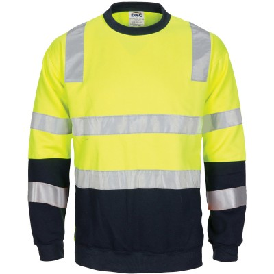 Hivis 2 Tone, Crew-neck Fleecy Sweat Shirt With Shoulders, Double Hoop Body And Arms Csr R/tape