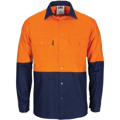 HiVis R/W Cool-Breeze T2 Vertical Vented Cotton Shirt with Gusset Sleeves - Long Sleeve