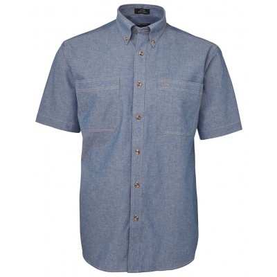 S/S Cotton Chambray Shirt Tan Stitch