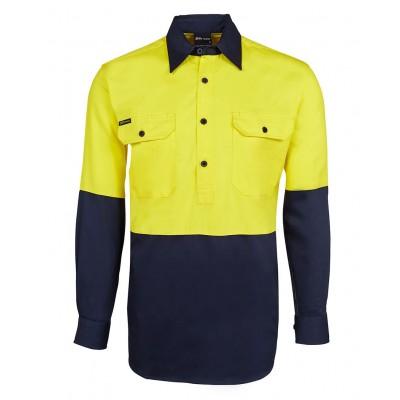 Hi Vis L/S 190g Close Front Shirt