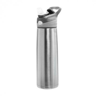 Contigo Sheffield 'Autospout' Sports Bottle - Silver Stainless steel construction reduces external condensation and keeps drinks cold for up to 20 hour...