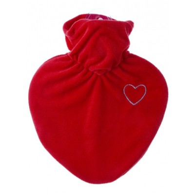 Europa Brands Hugo Frosch Hot Water Bottle Red Heart Fleece Cover 1 L
