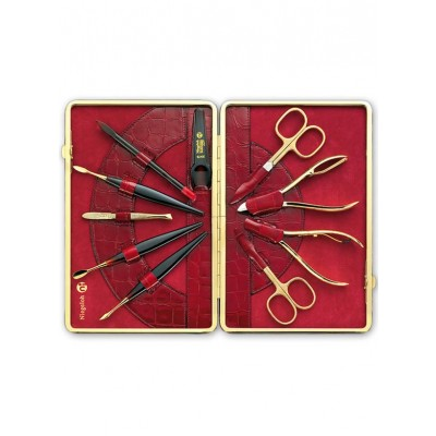 Europa Brands Niegeloh Kroko XL Leather Manicure Set  Red