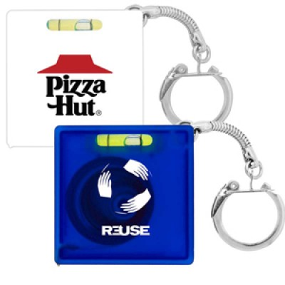 High Caliber Tape Measure with Level Key Chain
