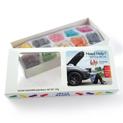 Logo Line Assorted Colour/Flavour Jelly Beans in Box - 125 Grams | LL3156