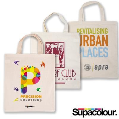 Logo Line Calico Double Short Handle Tote Bag - 140 GSM | LL500