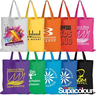 Logo Line Coloured Cotton Double Short Handle Tote Bag - 140 GSM | LL509
