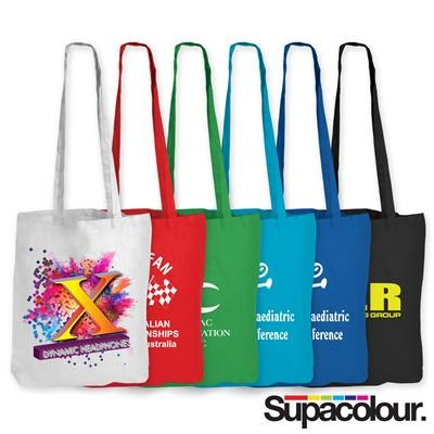 Logo Line Coloured Cotton Double Long Handle Conference Bag - 140 GSM | LL510
