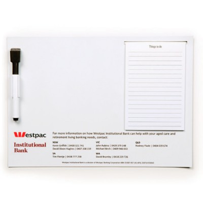High Caliber A4 Magnetic Whiteboard with Notepad