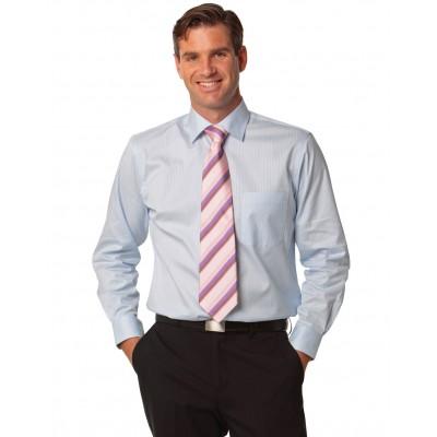 Men's Self Stripe Long Sleeve Shirt