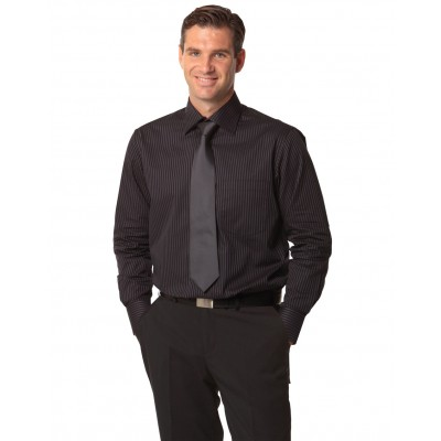 Men's Dobby Stripe Long Sleeve Shirt