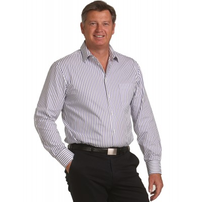 Men's Executive Sateen Stripe Long Sleeve Shirt