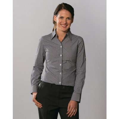 Ladies Gingham Check Long Sleeve Shirt