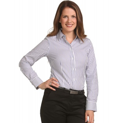 Ladies Executive Sateen Stripe Long Sleeve Shirt