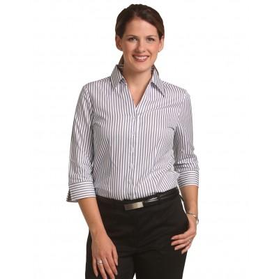 Women's Executive Sateen Stripe 3/4 Sleeve Shirt
