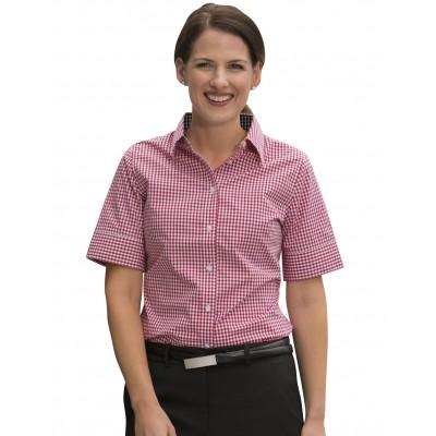 Ladies Gingham Check Short Sleeve Shirt