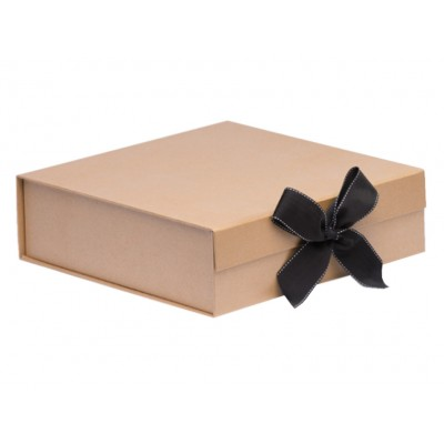 The GIFT'D Large Hamper Box Kraft (Ribbon) Pack of 10