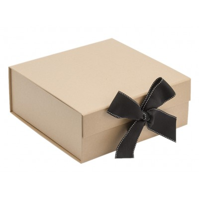 The GIFT'D Medium 4s Hamper Box Kraft Ribbon Pack of 10